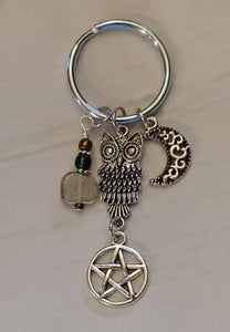 Silver Owl Laboradite Charm Key Ring