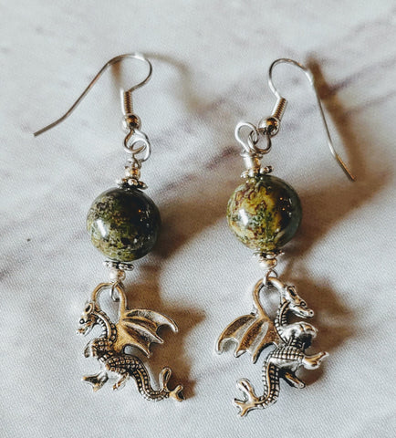 Dragon's Blood Jasper Dragon Earrings