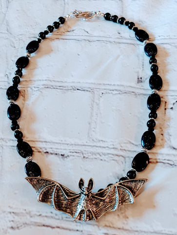 Midnight Blue Goldstone Bat Necklace