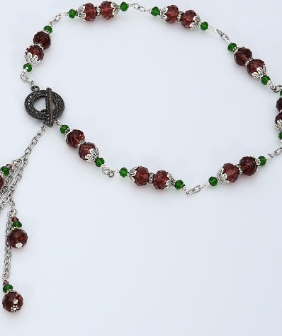 Handmade Victorian Burgundy Crystal Tassel Necklace