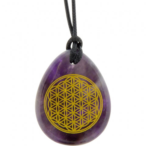 Amethyst Flower of Life Pendant