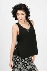 Black tank with lace and twisted back