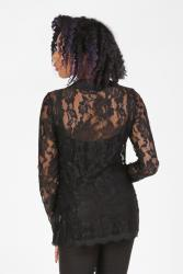 Black lace top with long sleeves and lace up front