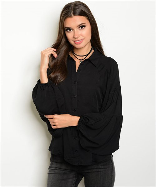 Blk button up with semi-poet style sleeves