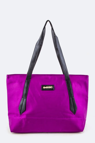 Vinyl Shopping Tote Bag-Purple