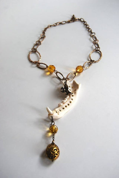 Handmade Dragon Jawbone Necklace