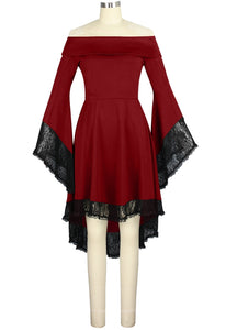 red gothic lace bell sleeved dress