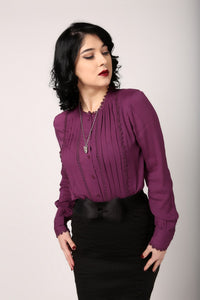 Purple Button up with buttoned cuffs and ruffle detail down front
