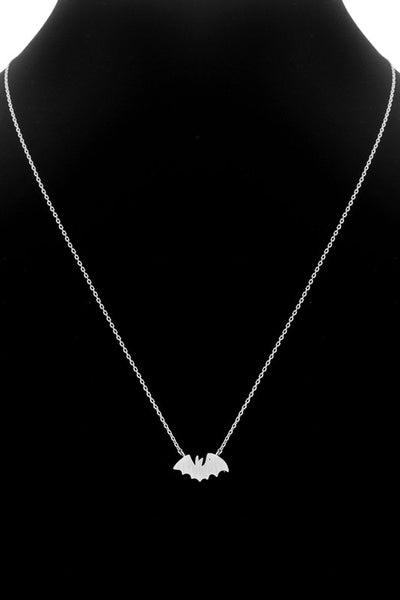 Tiny Brushed Silver Bat Necklace