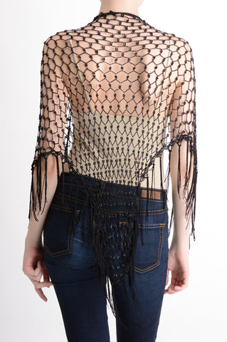 Black Beaded Fishnet Siren Shawl