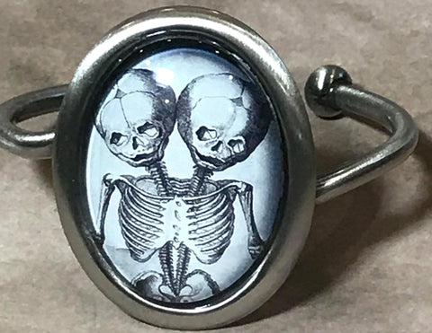 Conjoined Twins Cameo Cuff Bracelet (V1)
