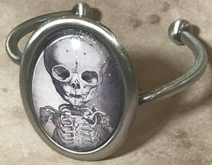 Skeleton Domed Cuff Bracelet