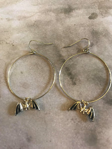 Golden Bat Hoop Earrings