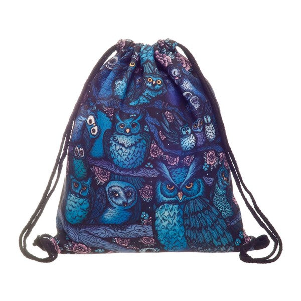 Blue and Purple Nylon Owl Backpack