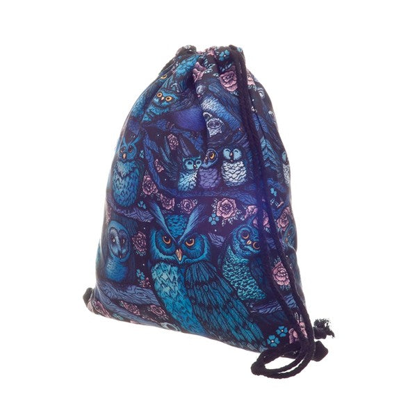 Blue and Purple Nylon Owl Backpack side