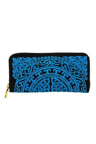 Embroidered Wallet (Blue)
