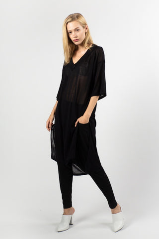 Hi Low V Neck Tunic (Black) ONE SIZE