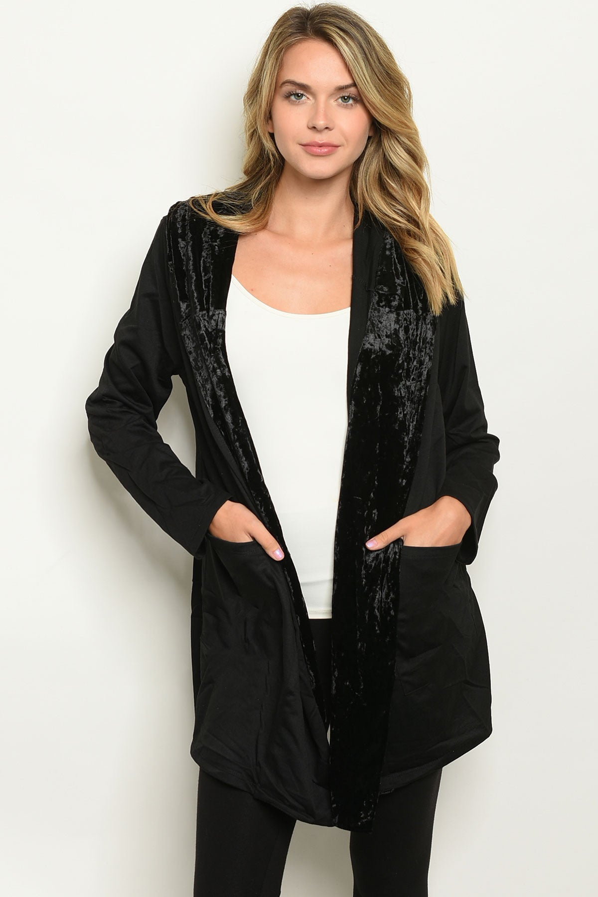 Velvet Trimmed Hooded Cardigan