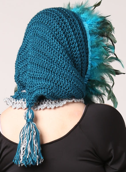 Handmade Turquoise Feathered Elf/Witch/Fairy Winter Hood