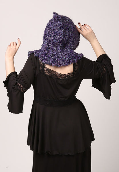 Handmade Purple Elf/Witch/Fairy Winter Hood