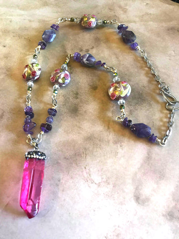 Handmade Pink Quartz & Amethyst Necklace