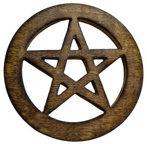 Carved Wood Pentacle Altar Tile