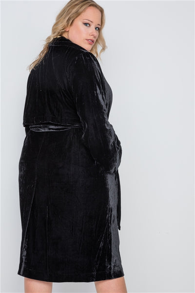 Black Velvet Trench Coat