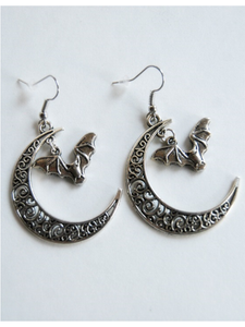 Crescent Moon Bat Earrings