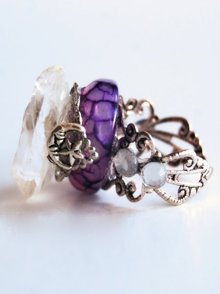 Handmade Quartz Point Purple Dragon Scale Ring