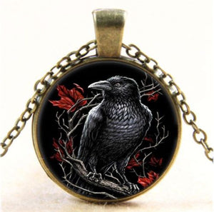 Raven Art Print Dome Necklace