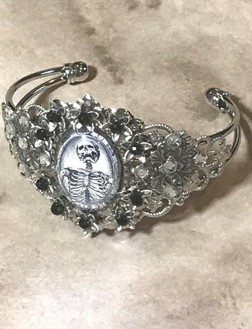 Handmade Screaming Skeleton Cameo Cuff