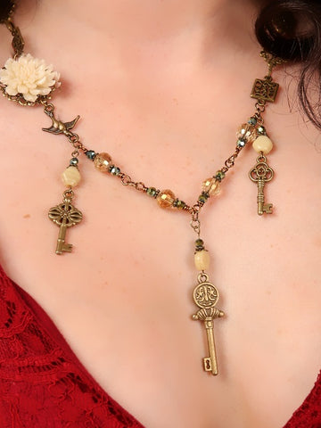 Handmade Victorian Triple Key Necklace