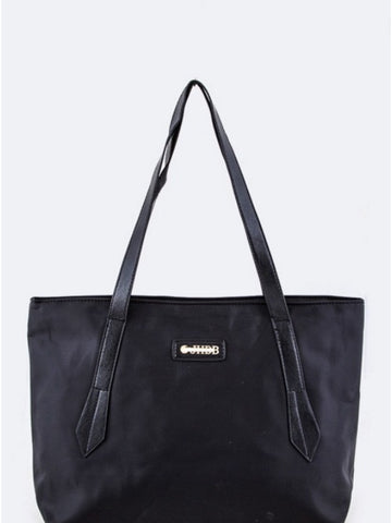 Vinyl Shopping Tote Bag-Black
