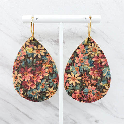 Cork Earrings | Leather Earrings | Fall Earrings | Large Teardrop Earrings | Fall Floral