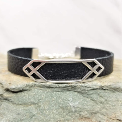 Black Leather Bracelet | Geometric Bar Charm-Creatively Cailin
