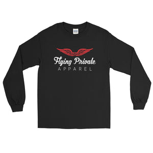 Long Sleeve Red Tee-Flying Private Apparel