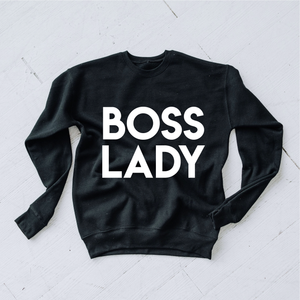 "black crew neck sweater that says ""Boss Lady"""