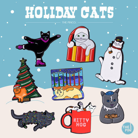 HOLIDAY CATS PIN SET