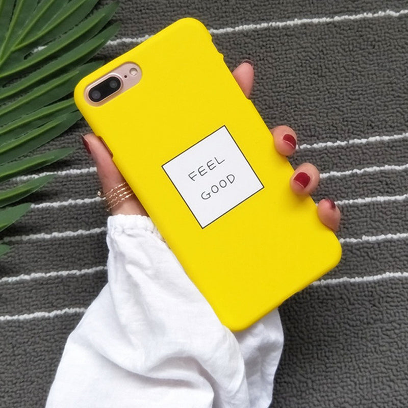 Cute Cartoon Letters FEEL GOOD Phone Case For iPhone 8Plus case Ultra Slim  Hard Shell Cover Coque For iPhone 7 8 Plus 6s 5s Capa