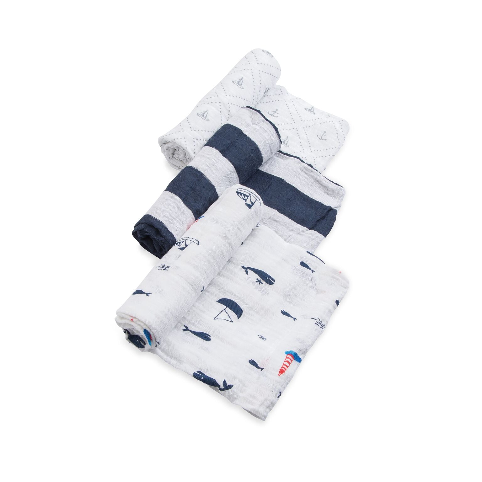 Little Unicorn Cotton Muslin Swaddle 3er Set - Anchors Aweigh
