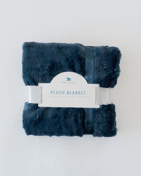 Little Unicorn Plush Luxury Receiving Blanket - Navy