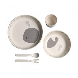 Filibabba Bamboo DinnerSet Nature White/Whale
