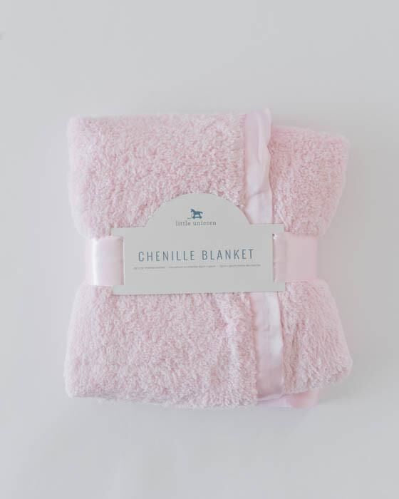 Little Unicorn Chenille Luxury Receiving Blanket - Pink
