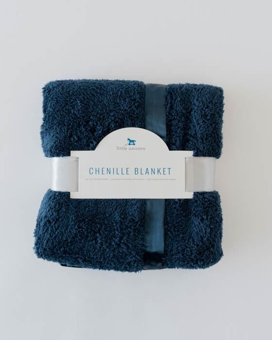 Little Unicorn Chenille Luxury Receiving Blanket - Navy