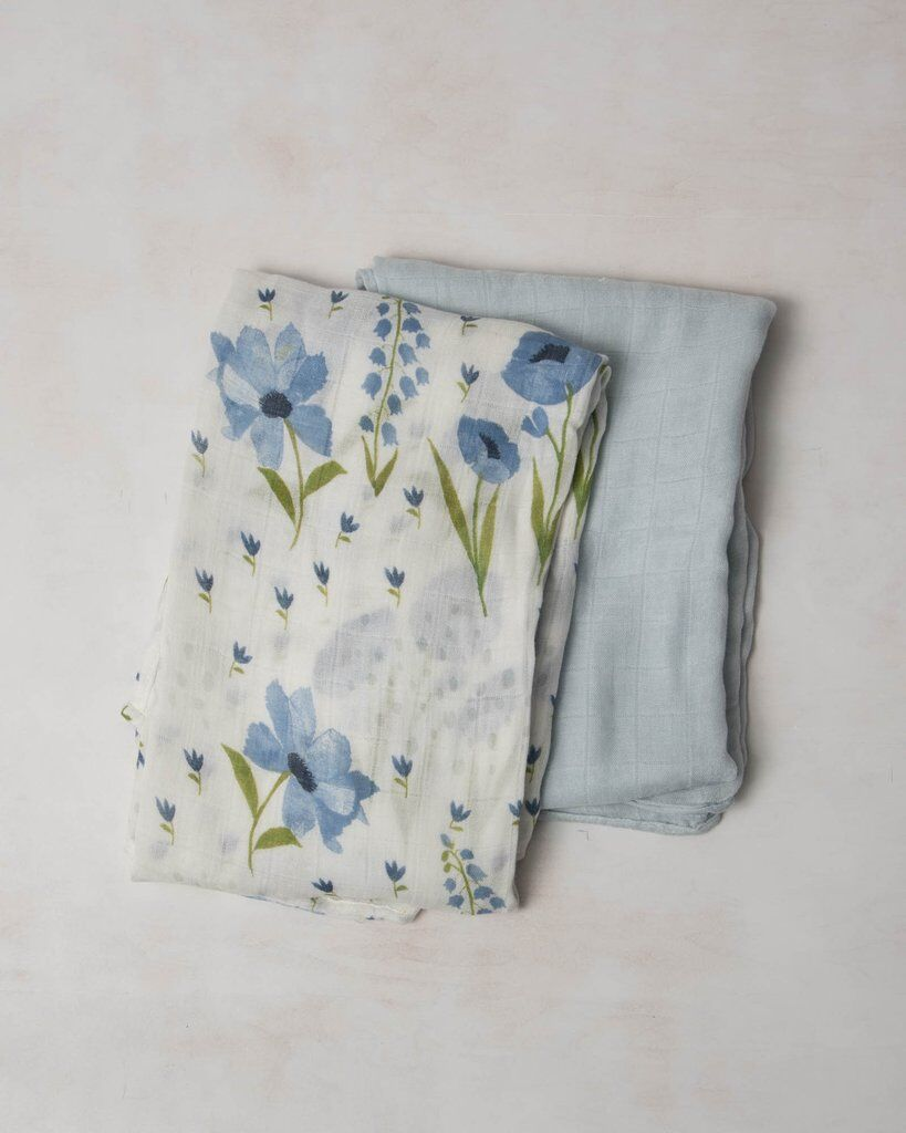 Little Unicorn Deluxe Muslin Swaddle 2er Set - Blue Windflower