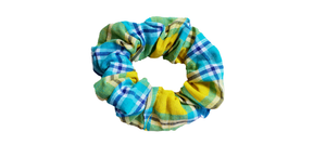 YELLOW / BLUE / GREEN TARTAN SCRUNCHIE