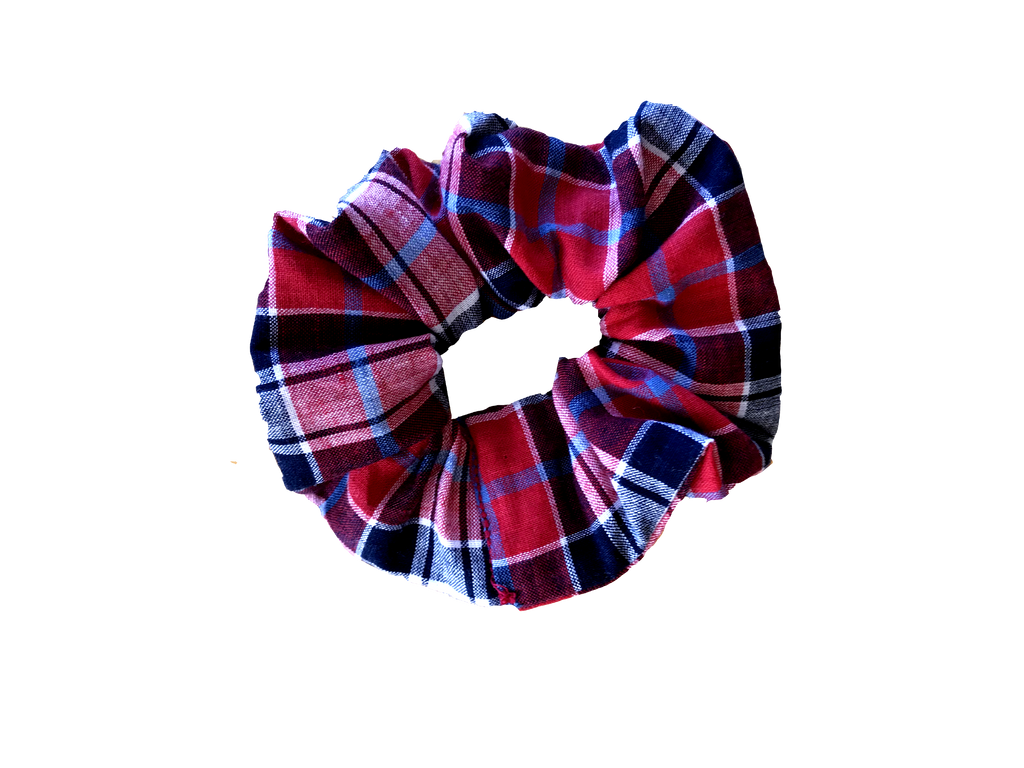 RED / NAVY TARTAN SCRUNCHIE