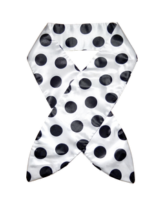 WHITE BASE, BLACK POLKA DOT HEADSCARF