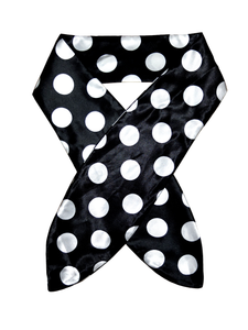 BLACK BASE, WHITE POLKA DOT HEADSCARF