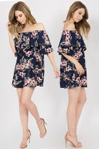 Navy | Tropical Vintage Floral Dress